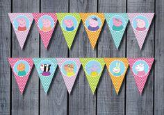 26 x PEPPA PIG & amigos cumpleaños Banner por RedAppleStudio