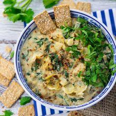 Vegan Spinach Dip with Artichokes - Super Creamy!