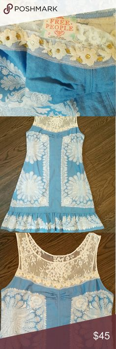 Free People Linen and lace blue Paisley dress sz 2 Free People Linen and lace blue Paisley dress sz 2 new condition very sturdy linen material Free People Dresses