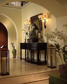 Arches, entry table, mirror and lights-Florida Design Magazine - entryway Home Living, Luxury Living, Living Room Decor, Foyer Decorating, Interior Decorating, Interior Design, Interior Exterior, Decorating Tips, Florida Design