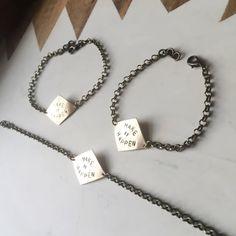 Make it Happen Bracelet - Hand Stamped Words on Solid Brass - Inspirational Minimalist Modern Geomet