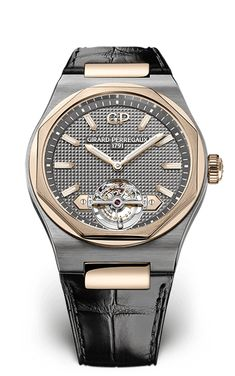 Girard-Perregaux Laureato Tourbillon 45 mm pink gold and titanium case, caliber 💰USD Mens Rose Gold Watch, Rose Gold Watches, Stylish Watches, Luxury Watches For Men, Amazing Watches, Cool Watches, Latest Watches, Le Prestige, Titanium Watches