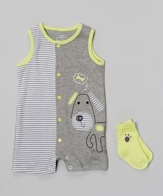Baby Headquarters Gray & Lime Puppy Romper & Socks - Infant by Baby Headquarters #zulily #zulilyfinds