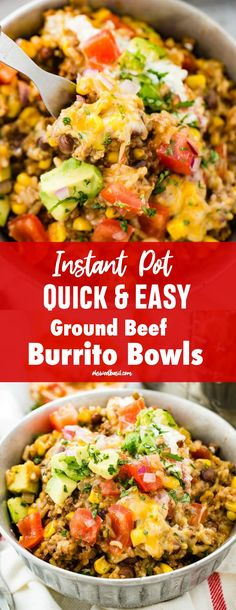 Family dinner ideas that are quick and easy are something that I am always on the hunt for! This recipe for Instant Pot Quick and Easy Ground Beef Burrito Bowls is a regular on our dinner menu! menu Instant Pot Ground Beef Burrito Bowls - Oh Sweet Basil Ground Beef Recipes For Dinner, Dinner With Ground Beef, Instant Pot Dinner Recipes, Easy Dinner Recipes, Easy Meals, Quick Ground Beef Meals, Quick And Easy Recipes, Ground Beef Crockpot Recipes, Quick Family Dinners