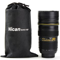 This is such a fun gift idea for a photographer.... especially one who is a Nikon enthusiast! Nikon-Style 24-70 mm Camera Lens Mug Stainless Steel Coffee Cup #photography #photographer #coffeelover