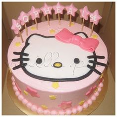 A buttercream birthday cake with Hello Kitty theme and pop up stars.For orders or enquiries,please PM or email us at mail@myvanillapod.com