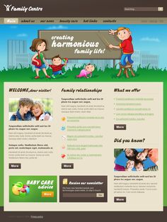 Family Center Website Templates by Mira Flash Templates, Joomla Templates, Family Web, Family Life, Web Inspiration, Web Layout, Website Template, Beauty Care, Parenting