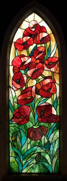 Poppies Framed Stained Glass Panel