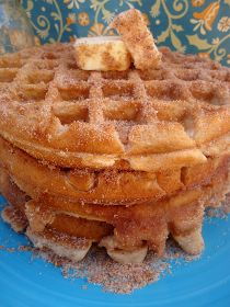 Churro Waffles! - as soon as they come off the iron, dip them in butter, then cinnamon and sugar!