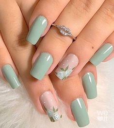 Stylish Nails, Trendy Nails, Beauty Nail, Mint Nails, Mint Green Nails, Glitter Nails, Green Nail Art, Acrylic Nails Green, Mint Nail Art