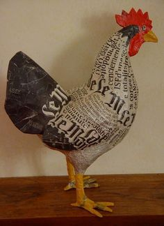"""Discover thousands of images about Cute heart things: Papier-mache: """"Farm Frenzy sisters Aude Goalec & Nicole Jacobs (France Paper Mache Projects, Paper Mache Clay, Paper Mache Sculpture, Paper Mache Crafts, Sculpture Projects, Bird Sculpture, Paper Clay, Diy Paper, Paper Art"""
