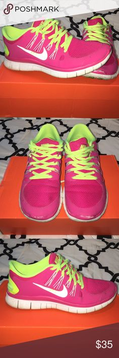 ... neon yellow and pink nike free 5.0 tennis shoes