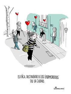 """""""It's easy to distinguish those who are in love"""". by agustina guerrero · illustration Cant Sleep At Night, I Cant Sleep, The Ugly Truth, Love Phrases, Naive Art, Funny Cartoons, Drawing For Kids, Cute Love, What Is Like"""