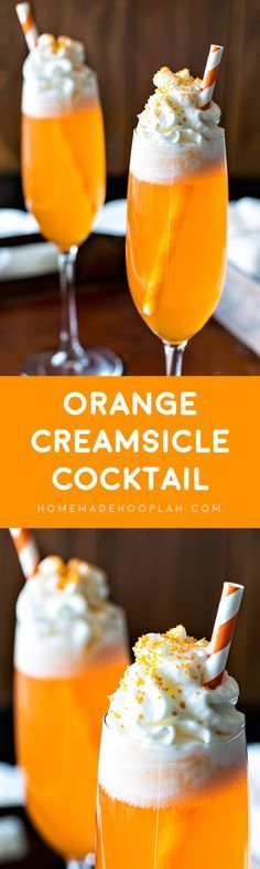 Orange Creamsicle Cocktail! If you like the popsicle, you'll love this cocktail! A delicious drink that will be festive throughout the holiday season. | HomemadeHooplah.com