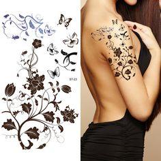 Supperb® tatuajes temporales tatuajes de flores tribales