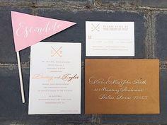 Pink and copper custom wedding invitation suite from Envelopments Dealer/Designer Emily Clarke Events