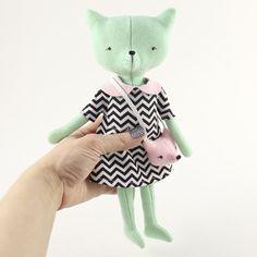 Eco friendly Soft cat doll, Felt cat doll, softie, Cat plush, Cat cloth doll in dress.