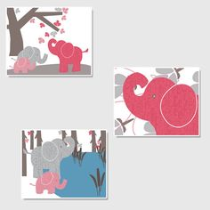 Elephant Nursery Art Set Pink and Grey Girl's by pitterpatterpress, except for a boy Elephant Nursery Girl, Elephant Artwork, Baby Animal Nursery, Elephant Love, Girl Nursery, Nursery Themes, Nursery Art, Nursery Ideas, Wishes For Baby