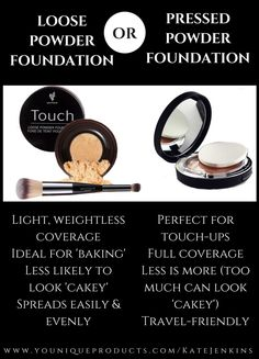 Younique's Touch Loose or Pressed Powder Foundation? Here is a quick guide to he… - Christmas-Desserts Younique Touch, Pressed Powder Foundation, 3d Fiber Mascara, Younique Presenter, Make Up Organiser, Mascara Tips, Beauty Bar, Beauty Tips, Makeup Addict