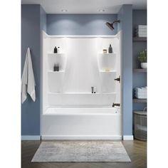 Bathtub Shower Combo, Bathroom Tub Shower, Bathroom Renos, Bathroom Ideas, White Bathroom, Modern Bathroom, Bathroom Bin, Master Shower, Modern Shower