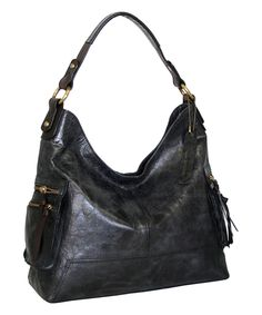 This Nino Bossi Handbags Black Leather Plunge Hobo by Nino Bossi Handbags is perfect! #zulilyfinds