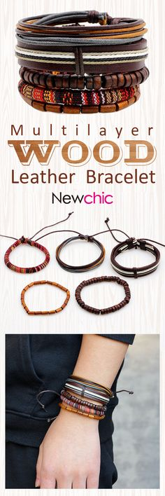 [Newchic Online Shopping] 49%OFF Casual Fashion Braided Leather Bracelets