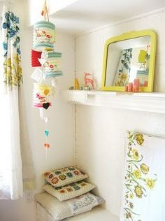 Having the Chinese paper lanterns, good idea to use them this way in kids bedroom :) Interior Inspiration, Room Inspiration, Interior Ideas, Ideas Habitaciones, Yellow Mirrors, Dottie Angel, Deco Boheme, Granny Chic, Kids Decor