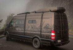 Outside Van Brown Pow custom camper gear hauler mercedes sprinter 4x4 van
