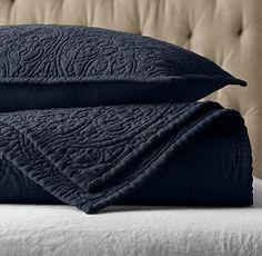 RH's Vintage-Washed Belgian Linen Quilt & Sham:Our linen quilt features a reproduction of an intricate vintage tile design, lending the bed a distinctive finish.