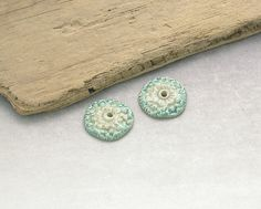 Handmade Ceramic Disc Art Beads - Aqua Green Artisan Earring Components -Glazed Stoneware Art Beads by Emma Ralph SRA UK seller