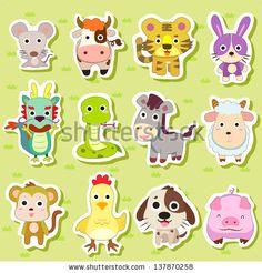 12 Chinese Zodiac animal stickers,cartoon illustration - stock photo