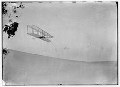Wilbur gliding down steep slope of Big Kill Devil Hill; Kitty Hawk, North Carolina 1902 [1024 x 743]