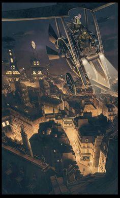Steampunk Tendencies | Thomas Girard #Illustration #Steampunk #Flyingmachine