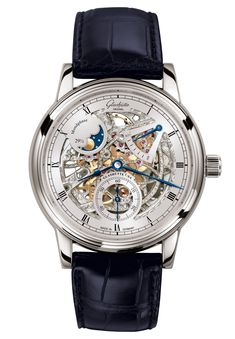 A filigree masterpiece providing fascinating insights into the fine art of Glashütte watchmaking. Glashutte Original, Gentleman Watch, Watch Engraving, Skeleton Watches, Steampunk Necklace, Beautiful Watches, Amazing Watches, Luxury Watches For Men, Moon Phases