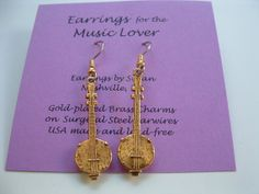 Banjo Charm Earrings antique gold brass charms by earringsbysusan