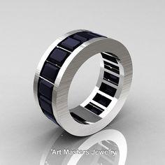 Mens Modern 14K Brushed White Gold 10.0 Ct Black by DesignMasters