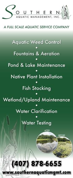 Have a waterway?  Have weeds?  Call us at 407-878-6655 or visit us at http://www.SouthernAquaticMgmt.com