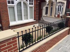 Front Garden Company London Fulham Wandsworth Chelsea Kensington Contact anewgarden for more information. Front Garden Ideas Driveway, Front Fence, Front Garden Entrance, Front Path, Brick Wall Gardens, Brick Garden, Garden Walls, Garden Pool, Victorian Front Garden