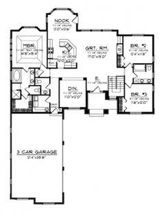 Beautiful One-Story Plan (HWBDO75810)   Ranch House Plan from BuilderHousePlans.com
