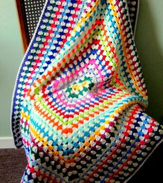 GRANNY SQUARE Blanket Vibrant Retro Crochet Afghan by Thesunroomuk