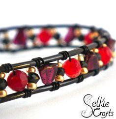 Garnet gemstone cuff bangle wire wrapped black with black spinel gemstone, garnet triangle and raspberry garnet gemstone, and gold beads. Gift for her, bridal jewellery, wedding jewellery bridesmaid gift. Jewellery (jewelry)  handmade in Scotland.