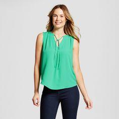 Women's Tie Front Blouse - Merona Tumble Green S