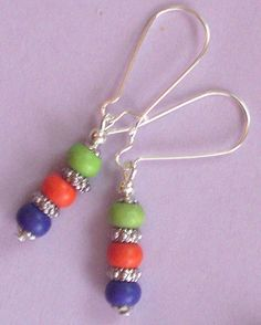 PURPLE ORANGE LIME HOWLITE earring SP KIDNEY HANDCRAFTED #handcraftedbyBeJay #drop