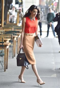 Pin for Later: You Won't Believe How Easy It Is to Steal Amal Clooney's Style on a Budget Amal's Sleek Pencil Skirt