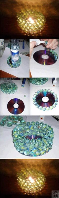 5. #Votive - 35 Ways to Recycle Old CDs ... → DIY #Mirror