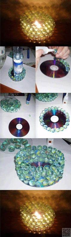 5. #Votive - 35 Ways to Recycle Old CDs ... → DIY #Mirror