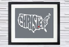 USA Family Name Typography Poster - 8x10. $20.00, via Etsy.