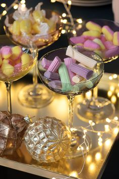 LSA pastel champagne coupes styled with sweets for Christmas