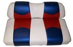Custom Golf Cart Seat Covers and Seat Skins made with Marine-Grade Vinyl Golf Cart Seat Covers, Golf Cart Seats, Custom Golf Carts, Cushion Covers, Carbon Fiber, Color Schemes, Custom Design, Model, Red