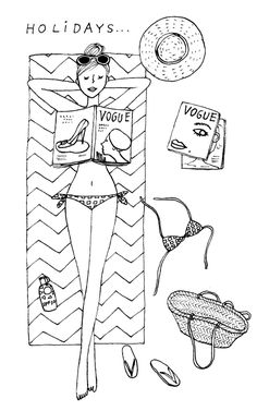 Woman lying on the beach Cat Coloring Page, Coloring Books, Coloring Pages, Beach Illustration, My Little Paris, Cute Sketches, Pretty Drawings, Cartoon People, Paris Art
